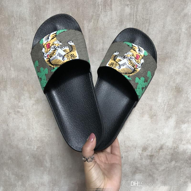 세련 된 슬리퍼 럭셔리 호랑이 패션 럭셔리 샌들 남성 여성 슬리퍼 호랑이 고양이 디자인 여름 Huaraches 슬리퍼 플립