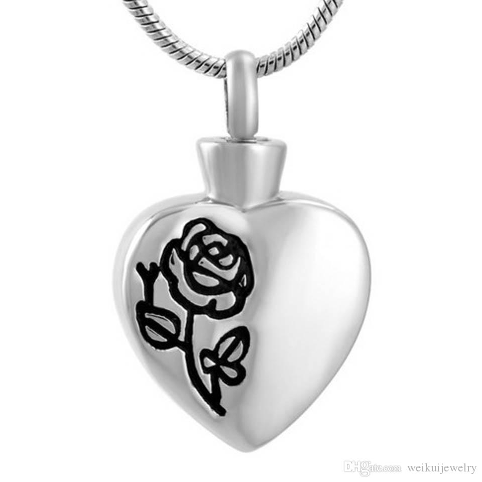 Heart Funeral Memorial Ashes Holder Urn Keepsake Stainless Steel Cremation Pendant Necklace
