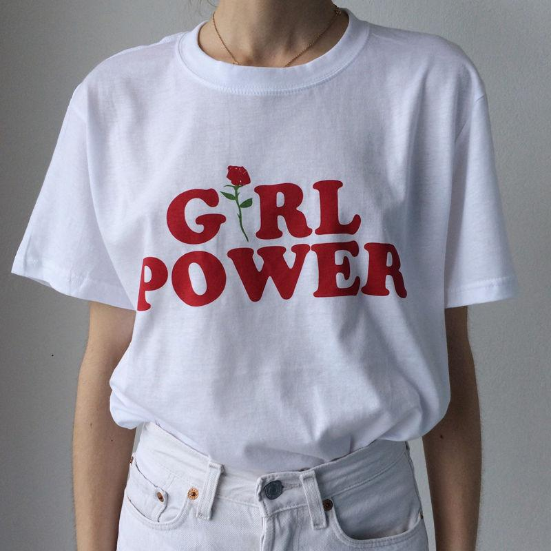 GIRL POWER T Shirt Unisex Short Sleeve Fashion Slogan Feminist Tumblr Rose Cute Tee Blogger Tees Tops T-Shirt Loose Outfit NEW