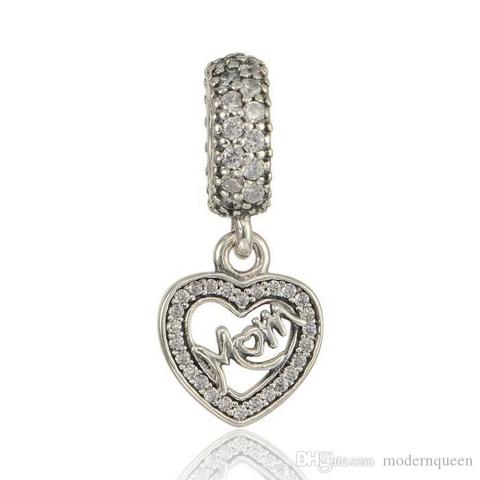 5pcs / lot mamma ciondolare charms argento 925 adatta braccialetti di marca originale 791521CZ H9