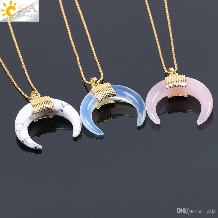 CSJA Natural Stone Crescent Half Moon Necklace Pendant with Chain Gold Color Wire Wrapped for Women Rose Quartz Crystal DIY Jewelry F063