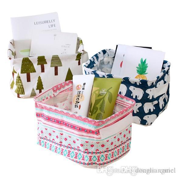 cariel Laundry Storage Baskets Box Portable Cotton Linen Foldable Basket Cloth Toy Snack Organizer 5 Color 50pc wn374B