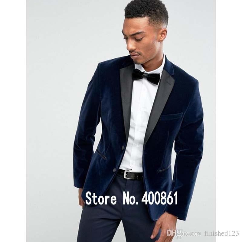 Stylish Design Groom Tuxedos Two Button Navy Blue Velvet Notch Lapel Groomsmen Best Man Suit Mens Wedding Suits (Jacket+Pants+Tie) NO:832