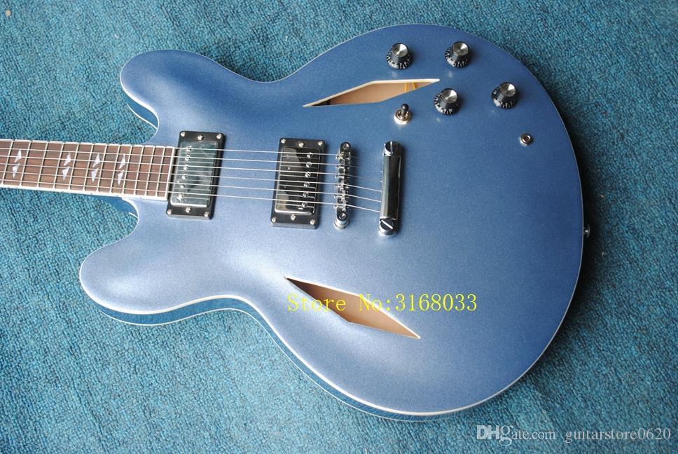 Пользовательские Дэйв Грол подпись синий металлик Джаз электрическая гитара полые тело Джаз электрическая гитара