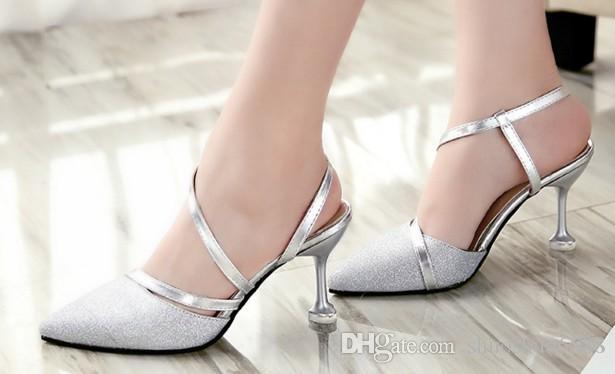 2018 Spring Heel High Heels Sandals Dama Pompy Klasyki Slip On Buty Sexy Kobiety Party Buty Ślubne Buty Ślubne 8cm Shuoshuo6588