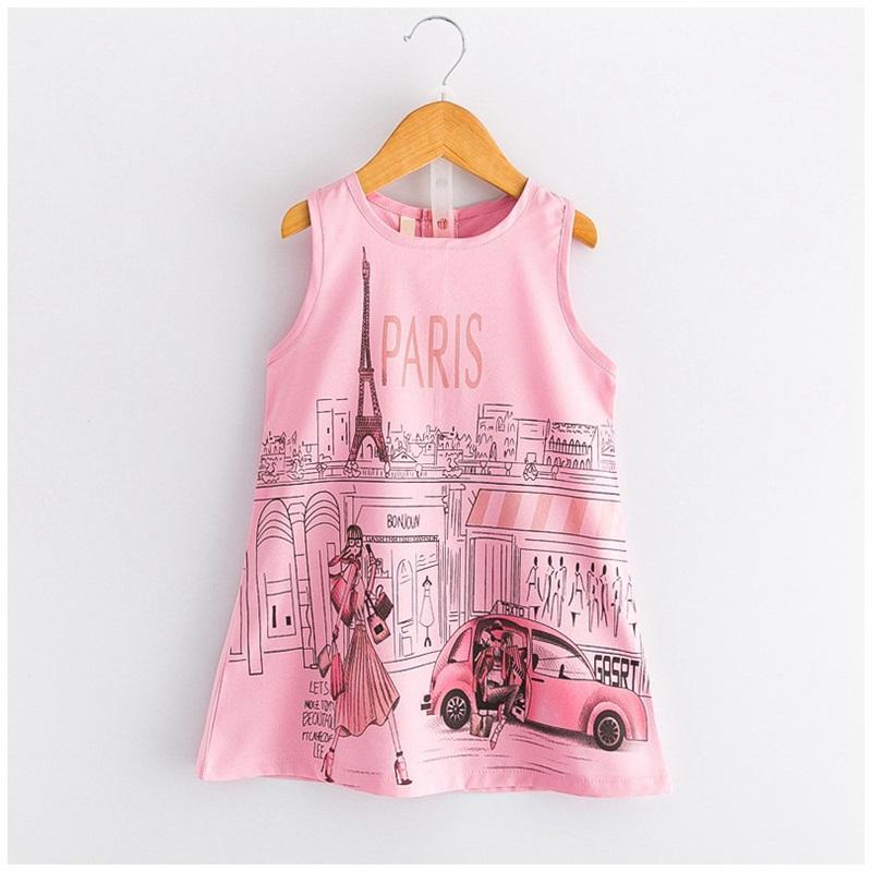 Le ragazze di estate di marca vestono la moda Parigi Torre Eiffel stampa bambini vestiti per ragazze vestiti senza maniche Princess Dress Girl SG122