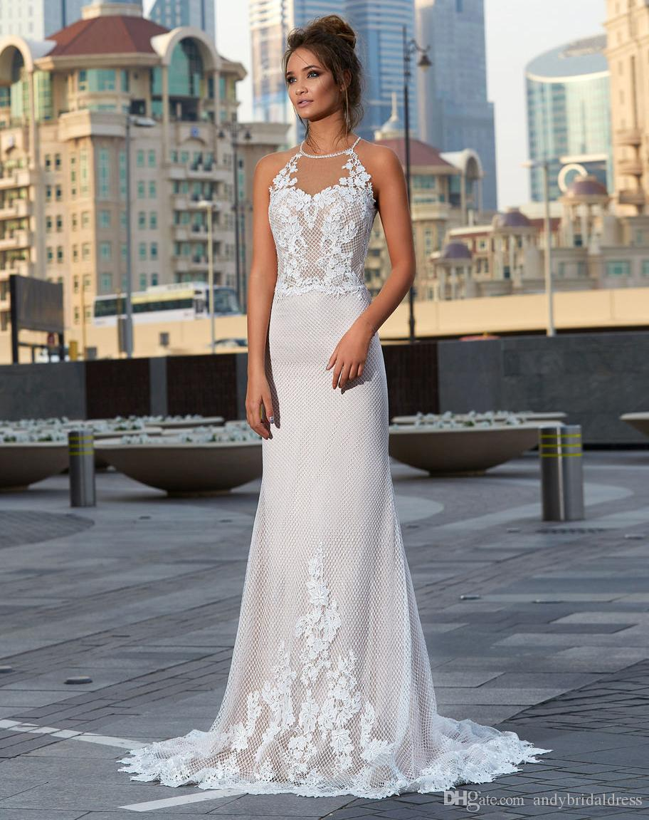 latest releases luxury aesthetic unparalleled New Coming Bare Back Sexy Wedding Dresses 2019 Vestido De Novia Halter  Sleeveless Lace Appliqued Trumpet Bridal Gowns Dresses Sexiest Mermaid  Wedding ...