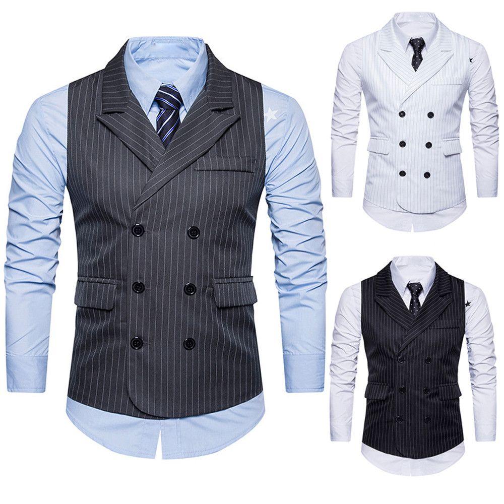 Hombres formal Tweed Check doble Breasted chaleco retro Slim Fit traje chaqueta caballero estilo por encargo para hombre