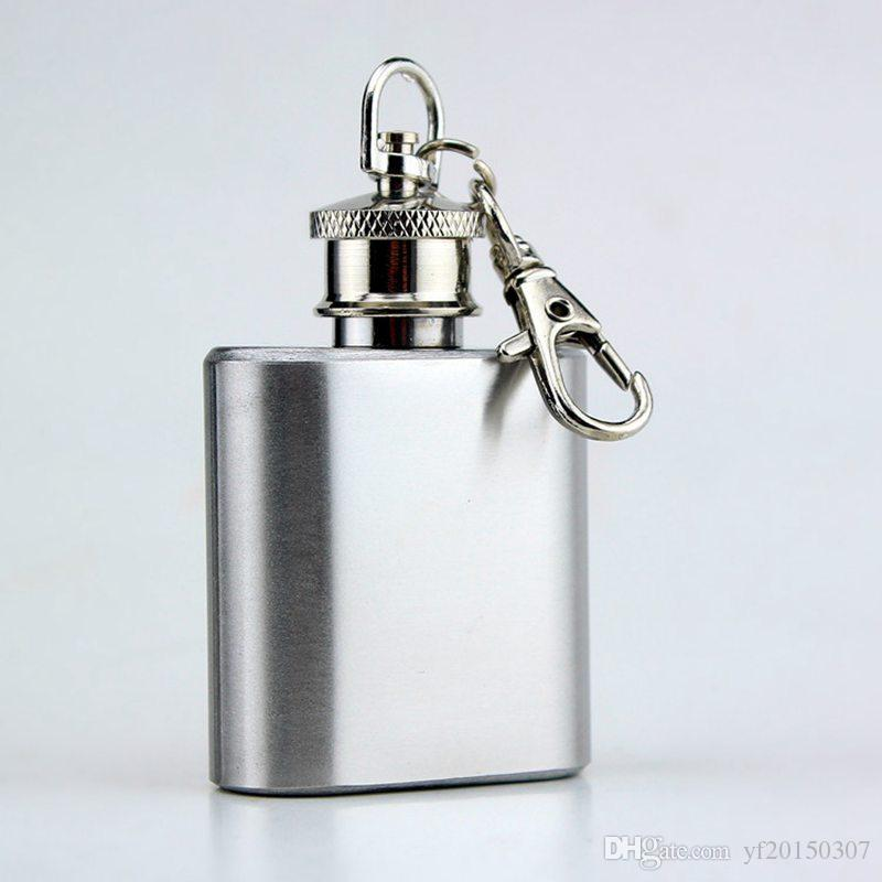 1 oz Mini Hip Flask Botella de Vodka de acero inoxidable Whisky Hip Flask Portable Alcohol Flagon Keychain Drinkware Flask