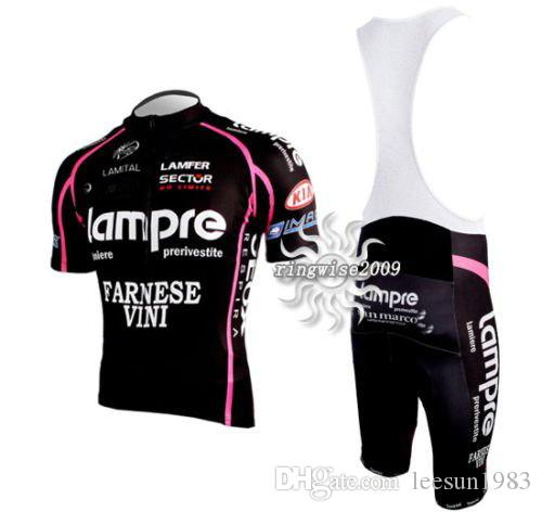 2011 Lampre Team Zwart Fietsen Dragen Korte Mouw Cycling Jersey + Bib Short Set Maat: XS-4XL L023