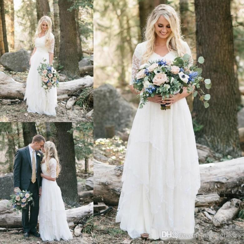 2018 Western Country Bohemian Forest Abiti da sposa in chiffon di pizzo Modesto scollo a V mezze maniche lunghe abiti da sposa plus size abito per matrimoni