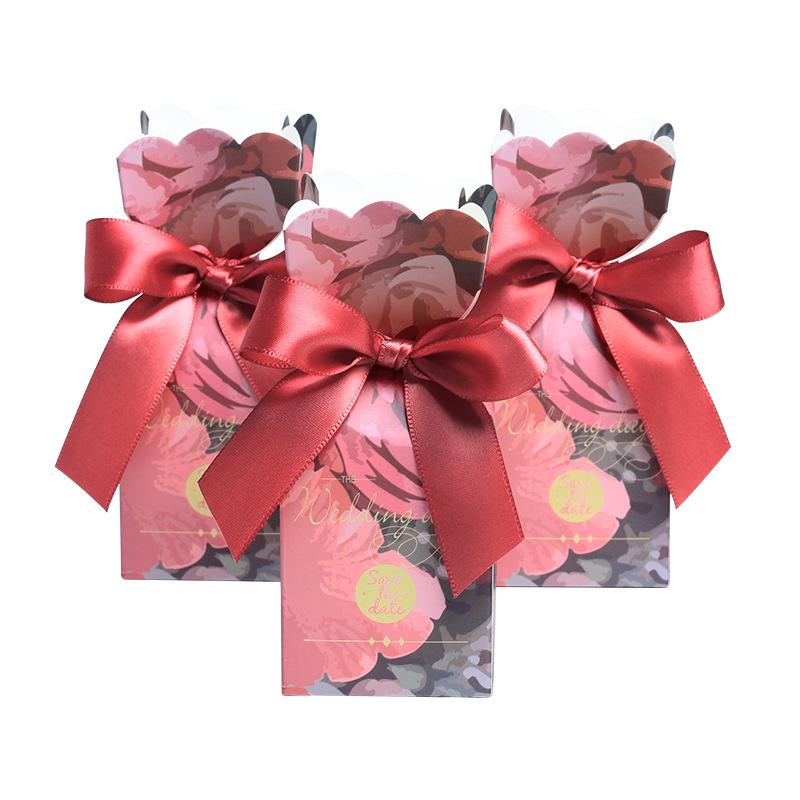 New Red Flower Fish Tail Wedding Day Candy Boxes Gift Box for Wedding Decoration Gifts Bag Guest Party Favors Supplies