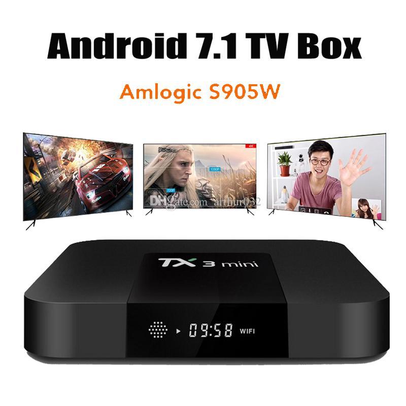 TX3 مصغرة S905W 2GB 16GB Android 8.1 TV Box Amlogic رباعية النواة Ultra HD H.265 4K تيار مشغل الوسائط أفضل MXQ Pro x96 ميني S922