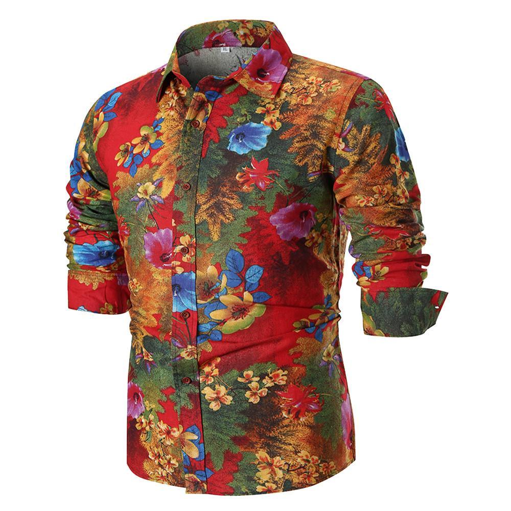 FeiTong long sleeve shirt men pattern vintage shirt Personality Men's Autumn Casual Slim Long Sleeve Printed Top