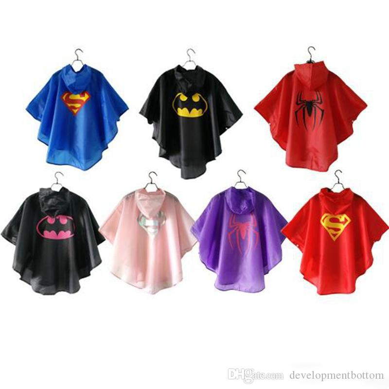 DHL free shipping 7 styles New Kids Rain Coat children Raincoat Rainwear/Rainsuit,Kids Waterproof Superhero Raincoat