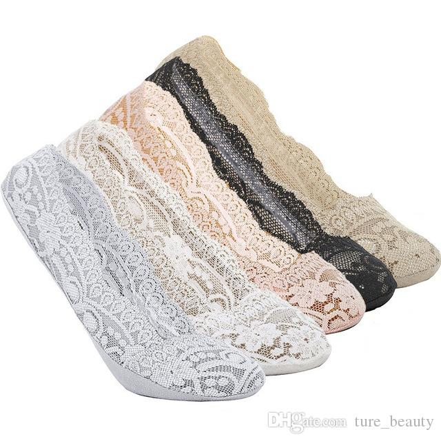HOT SALE SUMMER 12 pairs Lace Sapatos Socks Slippers For Female Women's Invisible High-heeled Shoes Socks Silicone Meias Branca Calcetines