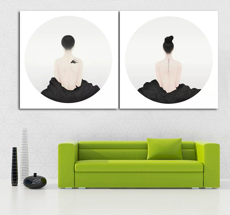 Taoist Priest Back Tattoos 2 Piecest Taoism Unframed Painting Living Room Wall Decor Modern Canvas Art HD Printing