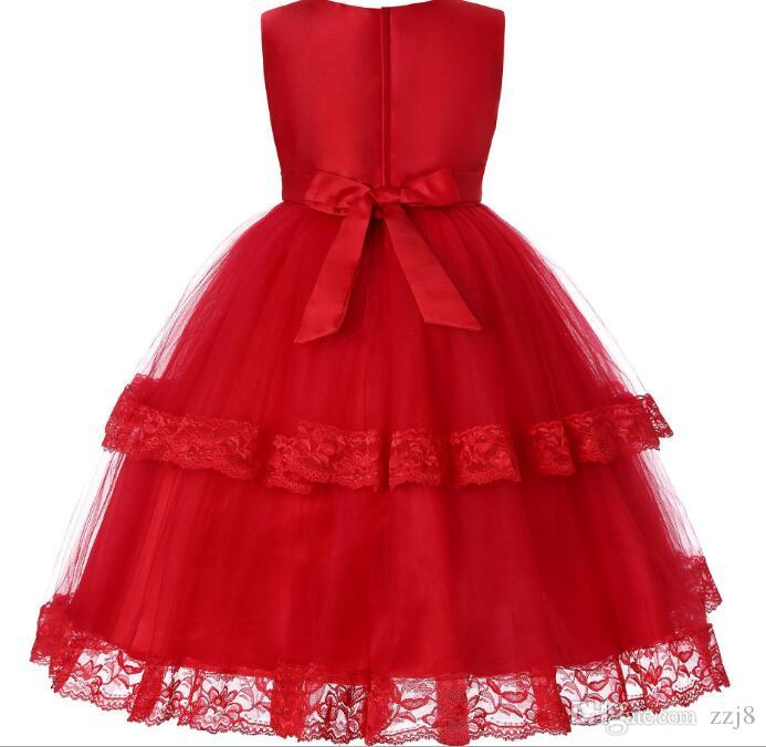 2019 Mesh Lace Evening Dresses For Girls Children Clothing Princess Tutu  Sleeveless Autumn Winter Wedding Dress Age 11 12 13 Red Purple From Zzj8,