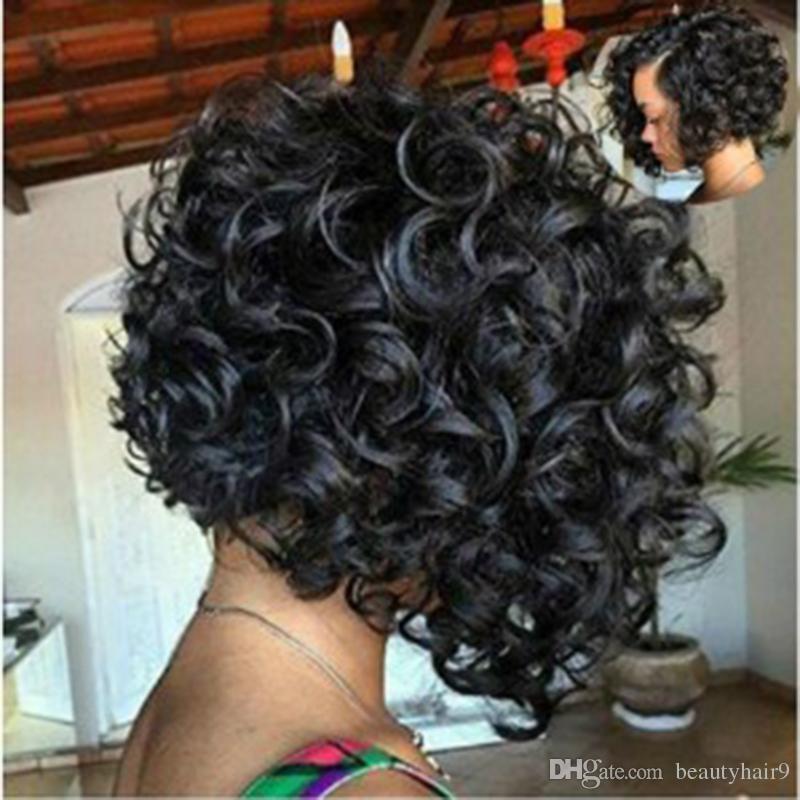 En brezilyalı Saç Afrika Ameri kısa bob dalga Peruk Simülasyon İnsan Saç kısa bob büyük stokta tam peruk