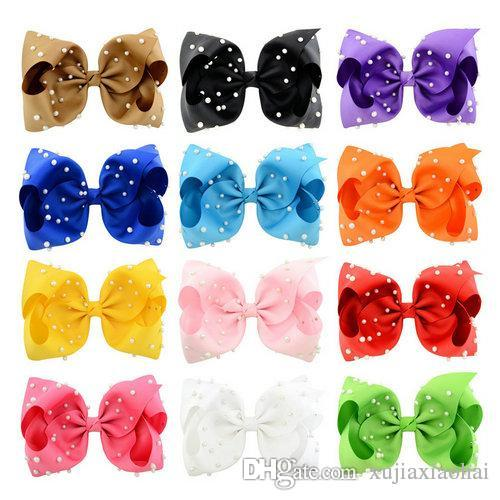 Popular 12 Colors JOJO Bow style 8 inch Ribbed ribbon Big Bowknot with Pearl Baby Girl Barrette Beautiful Hair Ornament headwear