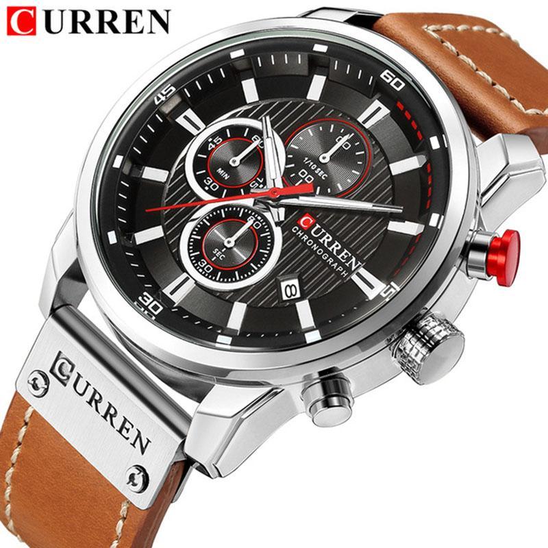 CURREN Luxury Casual Men Watches Sport Male Wristwatch Date Quartz Clock Chronograph Horloges Mannens Saat Relojes 8291