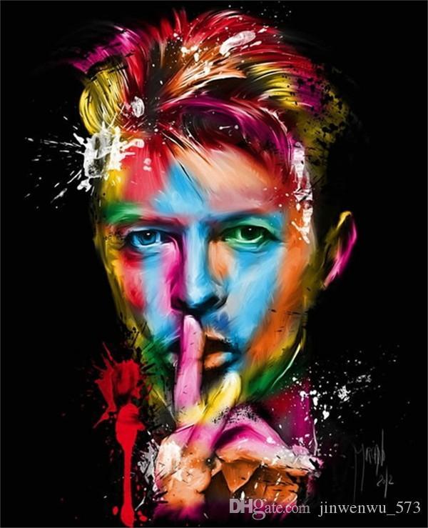 Cartel famoso de la pared de la lona del retrato David Bowie Painting Pictures para la decoración casera Ilustraciones de alta calidad