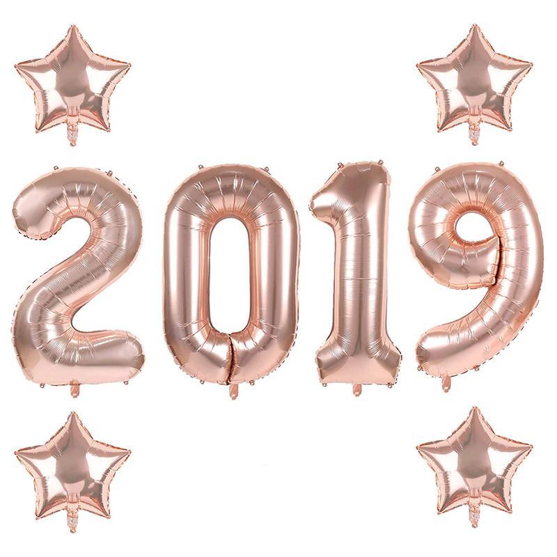 40 Inç Gül altın 2019 Numarası Folyo Balonlar, 2019 Mezuniyet Süslemeleri Yeni Yıl Arifesinde Festivali Parti Malzemeleri