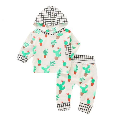 2018 العلامة التجارية الخريف عارضة الرضع لطيف طفل رضيع فتاة الصبار طباعة هوديس البلوز الأعلى + سروال اللباس 2PCS تتسابق مجموعات