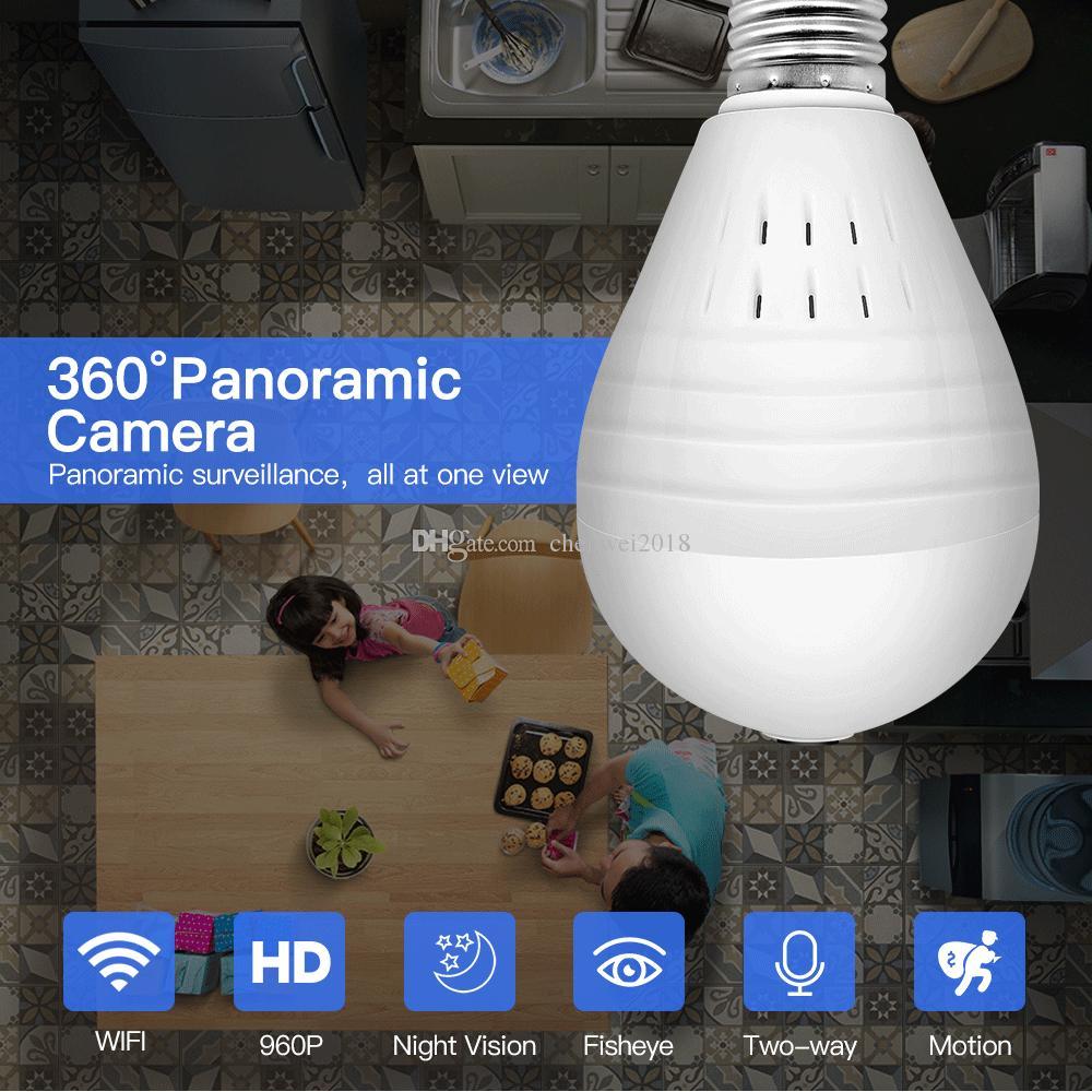 LED Ampul Işık wifi IP Kamera 360 Derece Panoramik Ev Güvenlik kamera HD 1.3MP 2.0MP Ampul Lamba Kamera desteği Gece Görüş