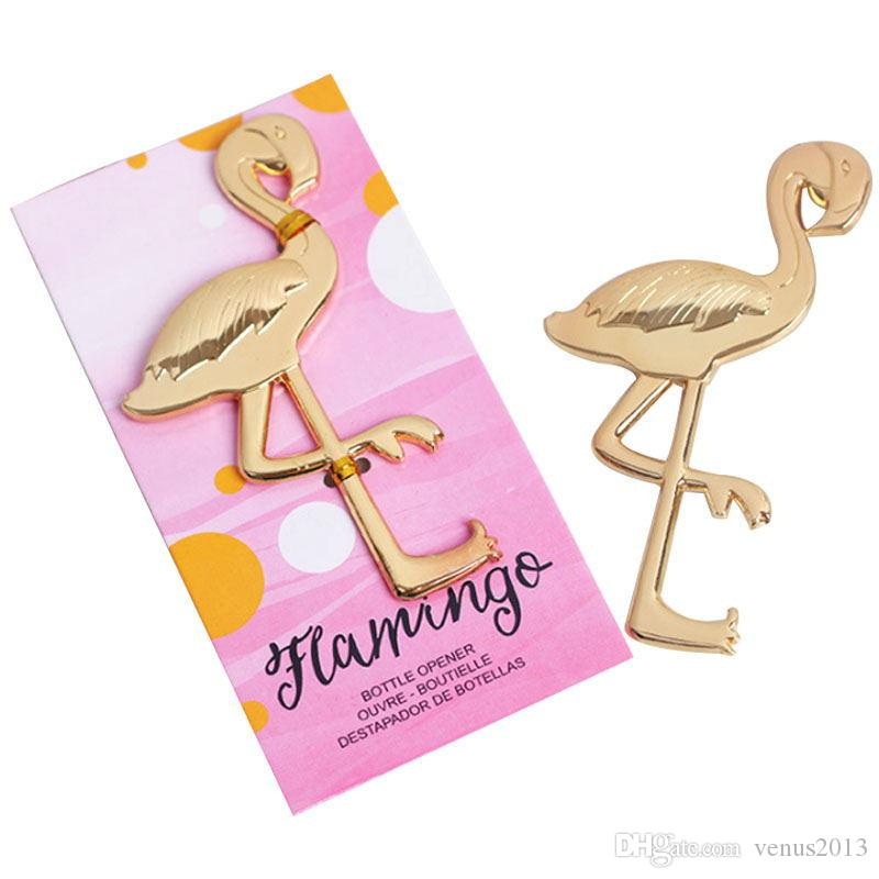 Gold Flamingo Flaschenöffner Hochzeit Rückkehr Geschenk für Gäste einzigartige Souvenirs für Geburtstagsfeiern Supplies Kostenloser Versand