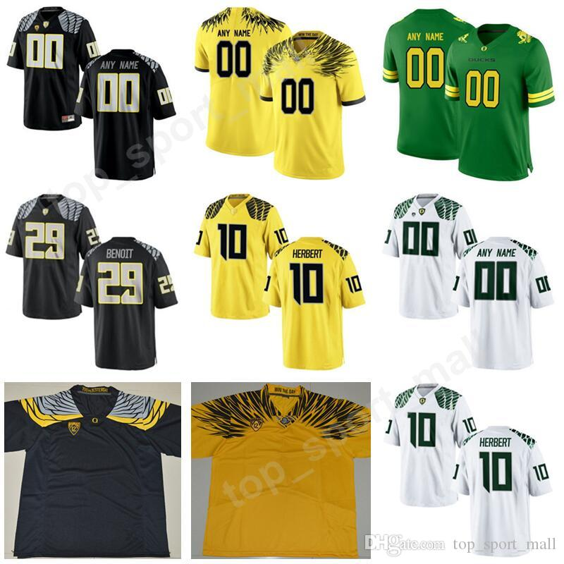 official photos c3c05 5d41b 2019 Men Football Oregon Ducks 10 Justin Herbert Jersey College Custom Any  Name Number 41 Aidan Schneider 29 Kani Benoit 27 Jacob Breeland From ...