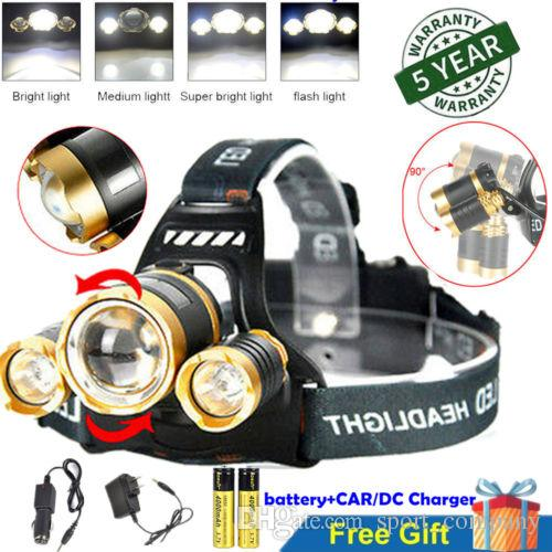 12000 Lumens Hunting Headlamp 3x XML T6 LED Headlight Head Torch Lamp Camping Zoom Head Light Flashlight 18650 Battery +Charger +Car Charger