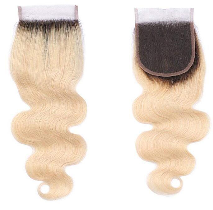 Platinum Blonde Ombre 1b / 613 Chiusura del merletto dell'onda del corpo con i capelli del bambino nodi candeggiati Remy capelli umani 4x4 chiusure del merletto