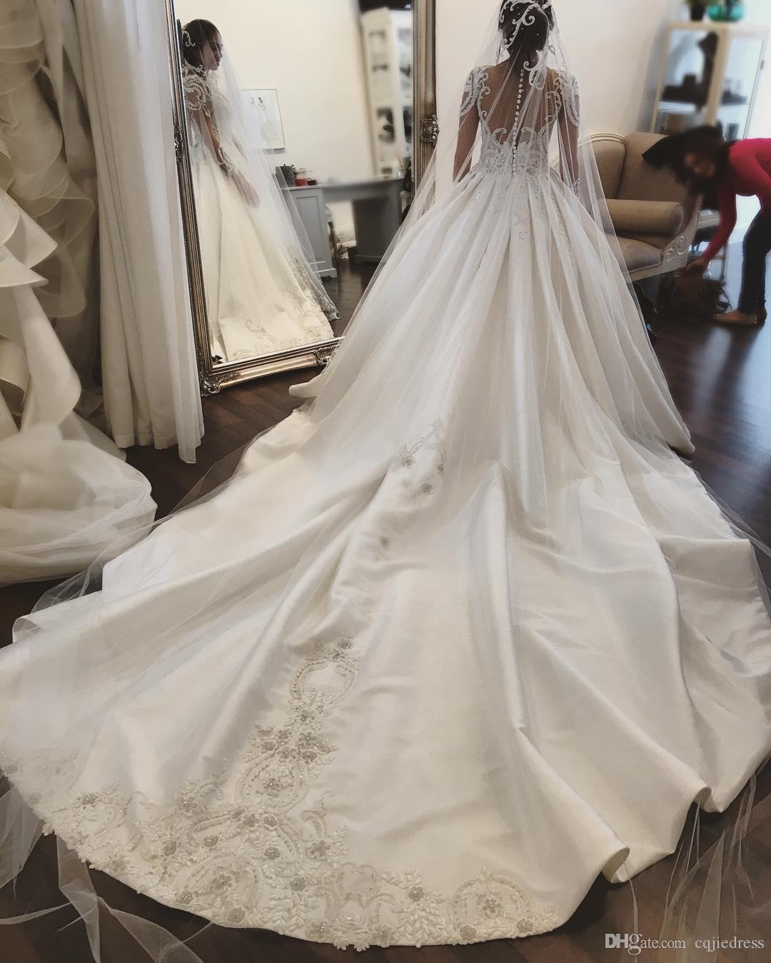 2019 Nuevo manga larga vestidos de novia aplique de encaje cristal cuello sheer shirts vestidos de novia tren satinado más tamaño vestido de novia 2018