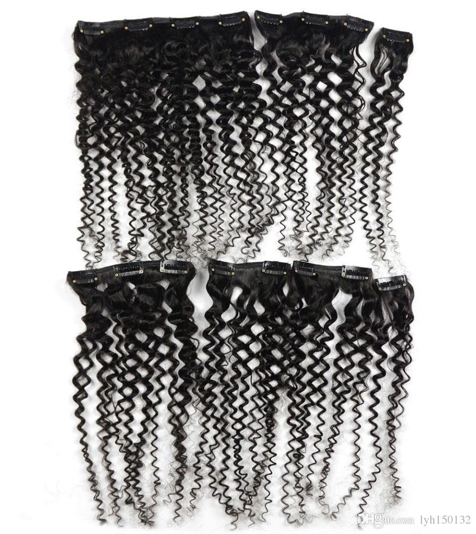 Бразильский вьющийся зажим в удлинителях 100G зажим в натуральных вьющихся бразильских волосах 7шт afro kinky clip in extensions