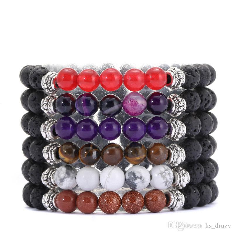 Natural Beads 8mm Black Lava Stone Beaded Bracelet Essential Oil Diffuser Bracelet Volcanic Rock Buddha Yoga Hand Strings Jewelry