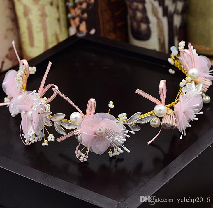 Couronne de fleurs en soie rose de mariée, bijoux de mariée faits à la main, accessoires de robe de mariage, accessoires de coiffure de studio de coiffure de performance