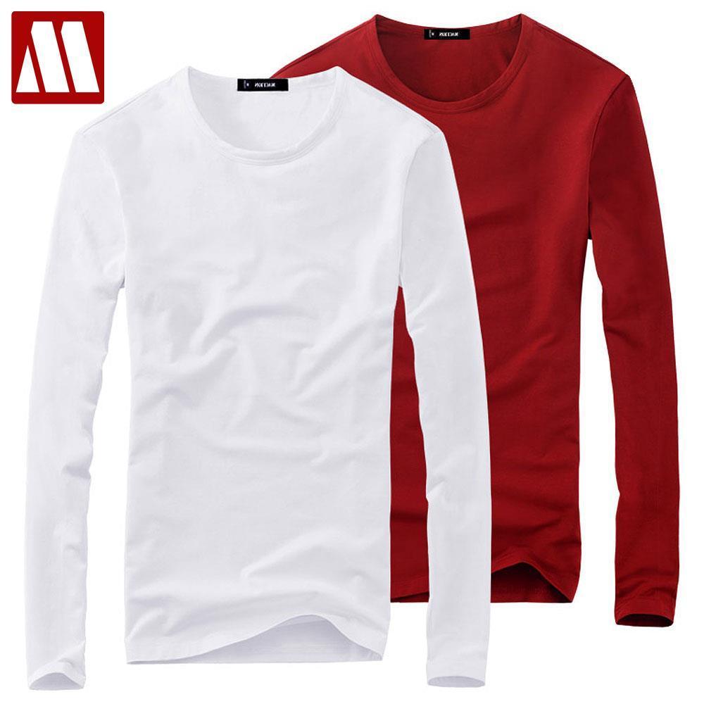 T-shirt da uomo 2021 primavera auturn o collo elasticizzato in cotone maniche lunghe mens t camicie moda street top tee shirt obm marca