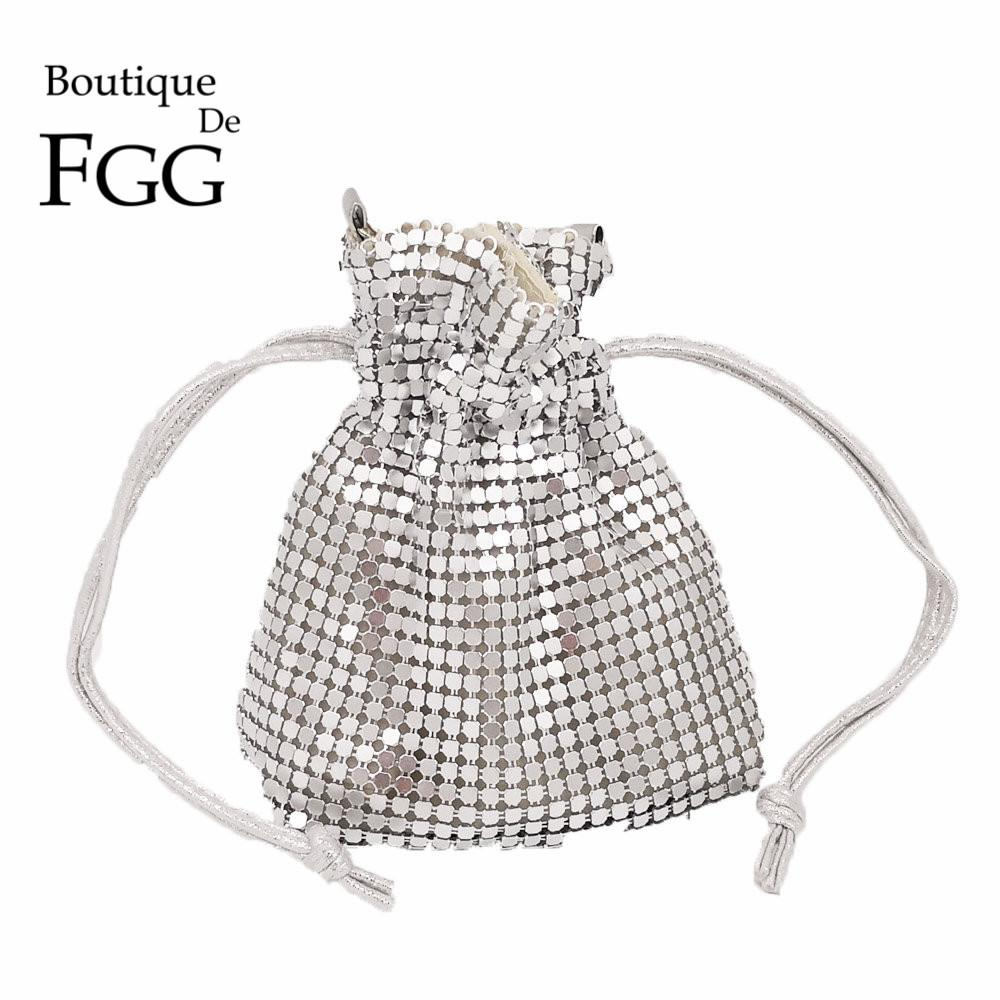 Boutique De FGG Handbags Women Bag Aluminum Bucket Mini Evening Bags Coin Purse Ladies Party Clutch Handbag