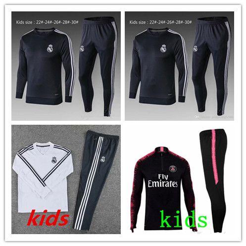 Gerçek Madrid Eşofman Takım Elbise Çocuklar Chándal De Fútbol Futbol Eğitim Takım 2018/19 Çocuk Kitleri 18/19 Gençlik Çocuklar Eğitim Suit Erkek Spor Giyim