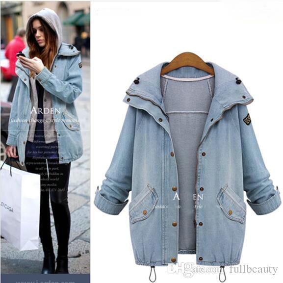 Coton mélangé dames zippé à capuche jean lâche manteau anti-poussière gilet deux pièces
