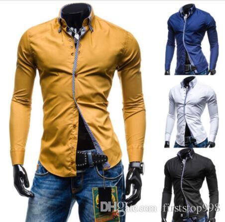 Homens Camisa Primavera Marca Homens de Negócios Slim Fit Camisa de Vestido Masculino Longo Mangas Casual Camisa Cor Sólida Camisa Masculina