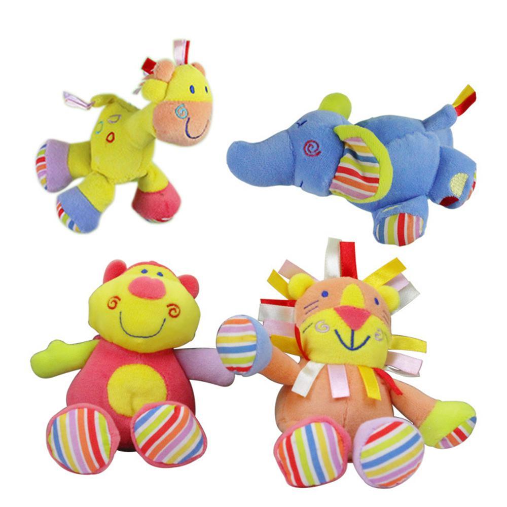Small and lovely Baby Toys Multifunction Baby Rattles & Mobiles Deer&hippopotamus&elephant&lion Hand dolls Stroller&crib pendant