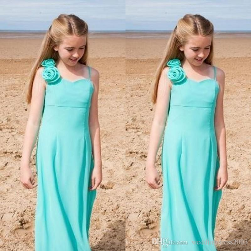 Cheap Flower Girls Dresses Spaghetti Straps with Delicaate Hand-made Flowers Small A Line Ice Blue Long Junior Bridesmaid Dresses