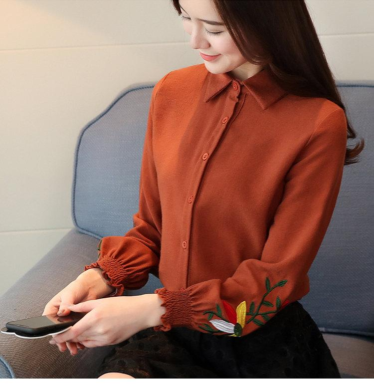 Women\`s Autumn Embroidery Tops 2019 Casual Long Sleeve Female Blouses Work Wear Corduroy Shirts Elegant Office Blusa Mujer Camisas (7)