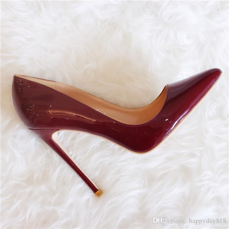 Fashion Women Pumps Vintage Burgundy Patent Leather Point Toe High Heels Thin Heel Bride Wedding Shoes 12cm 10cm 8cm Bass Shoes Skechers Shoes From