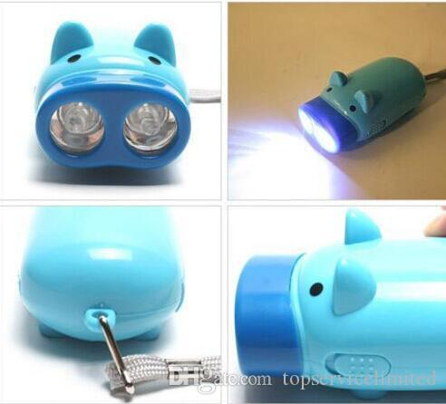50pcs Dynamo Flashlights Manual Hand Pressing Power 2 LED Protable Pig Shaped Cartoon Torch Light Crank Power Wind Up For Camping Lamp