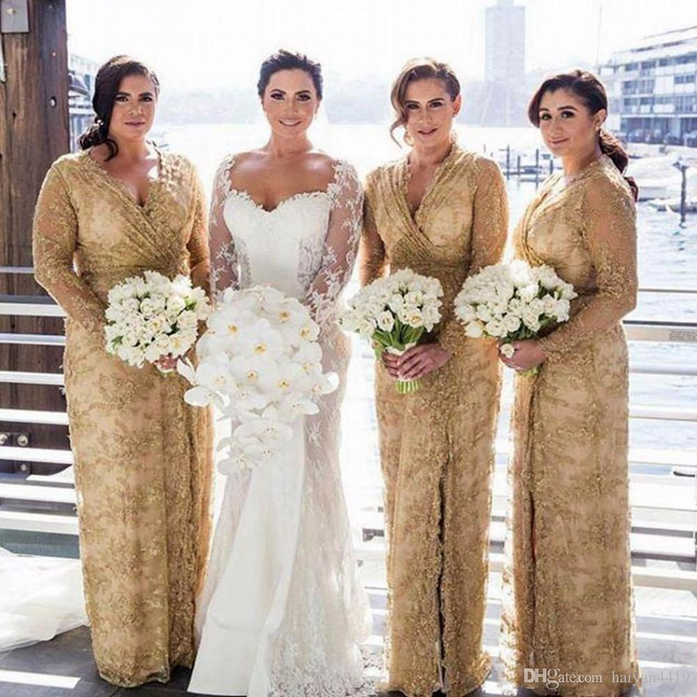 2018 Cheap Gold Bridesmaid Dresses V
