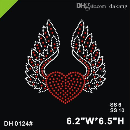 FIX HEAT TRANSFER HEART RHINESTONE IRON ON APPLIQUE