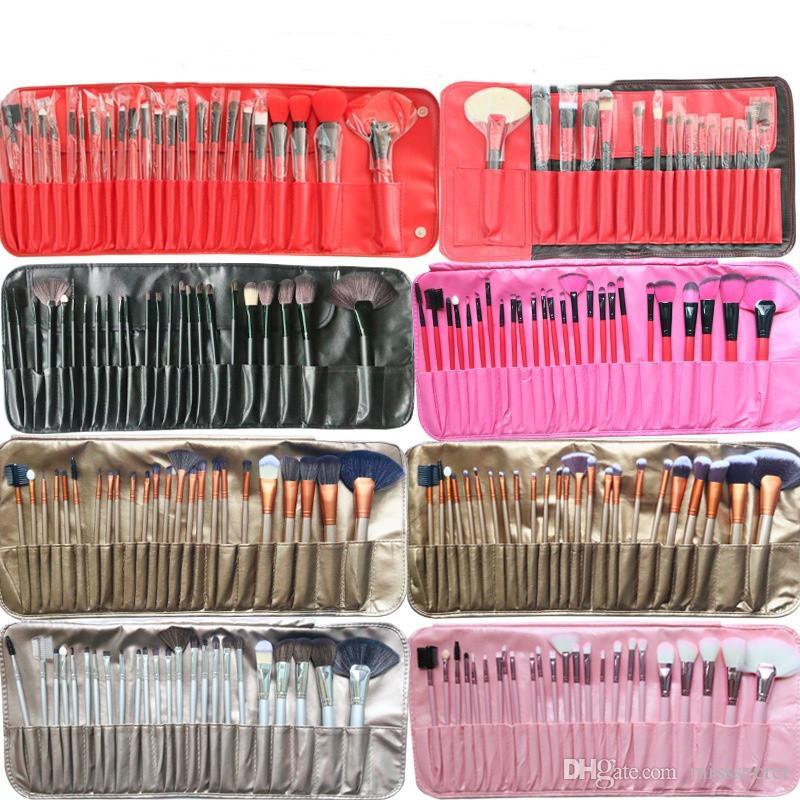 24 adet Profesyonel Makyaj Fırçalar Seti Seti Çantası Vakfı Kontur Kapatıcı ile Makyaj Fırça Göz Farı Kaş Fırçası